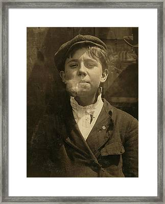 Portrait Of A Boy Smoking A Pipe Framed Print by Everett