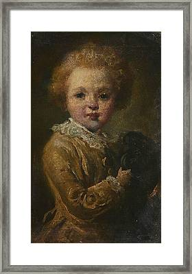 Portrait Of A Boy With His Dog Framed Print by MotionAge Designs