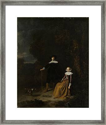 Portrait Of A Couple In A Landscape Framed Print by Gerard Dou