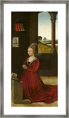 Portrait Of A Female Donor Framed Print by Petrus Christus