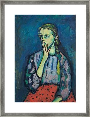 Portrait Of A Girl Framed Print by Alexej von Jawlensky