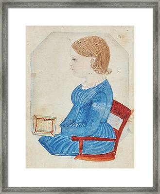 Portrait Of A Girl In A Blue Dress Framed Print by Justus Dalee