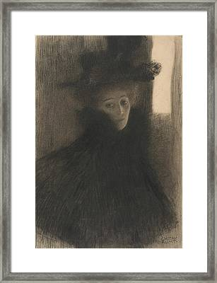Portrait Of A Lady With Cape And Hat  Framed Print by Gustav Klimt