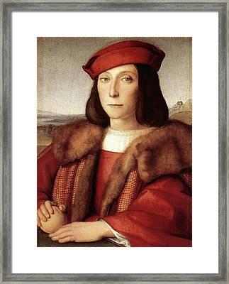 Portrait Of A Man Holding An Apple Framed Print