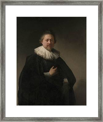 Portrait Of A Man, Probably A Member Of The Van Beresteyn Family Framed Print by Rembrandt