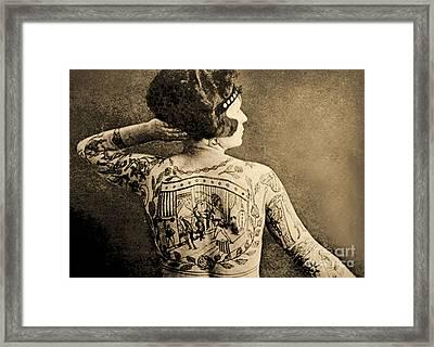 Portrait Of A Tattooed Woman Framed Print