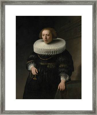 Portrait Of A Woman, Probably A Member Of The Van Beresteyn Family Framed Print by Rembrandt