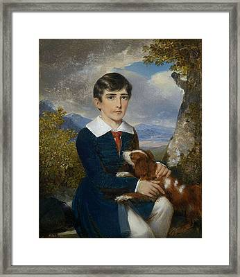 Portrait Of A Young Boy With A Spaniel Framed Print by Johann Nepomuk