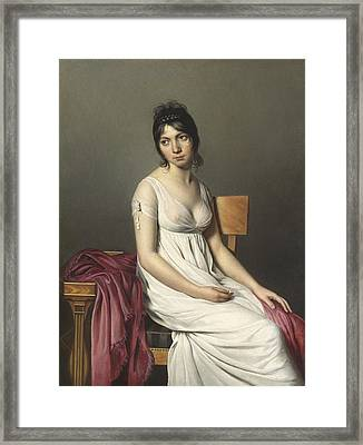 Portrait Of A Young Woman In White Framed Print