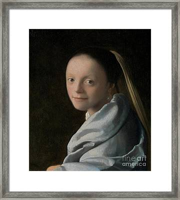 Portrait Of A Young Woman Framed Print by Jan Vermeer