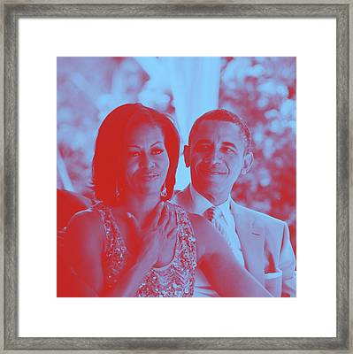 Portrait Of Barack And Michelle Obama Framed Print by Asar Studios