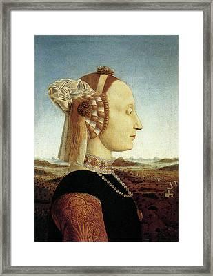 Portrait Of Battista Sforza Framed Print by Piero della Francesca