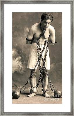 Portrait Of Harry Houdini In Chains. Circa 1900  Framed Print
