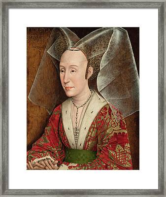Portrait Of Isabella Of Portugal Framed Print by Rogier van der Weyden
