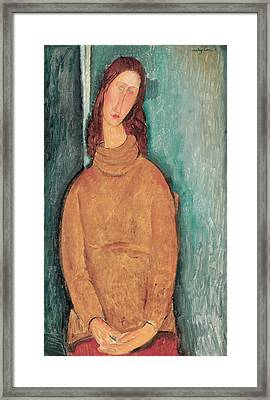 Portrait Of Jeanne Hebuterne Framed Print by Amedeo Modigliani
