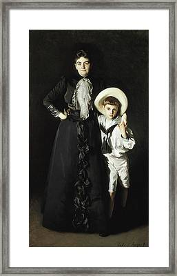 Portrait Of Mrs Edward L Davis And Her Son Livingston Davis Framed Print by John Singer Sargent