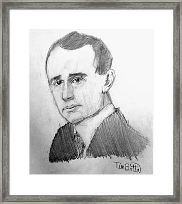 Portrait Of Napoleon Hill Framed Print by Tim Botta