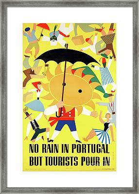 Portugal Vintage Travel Poster Restored Framed Print by Carsten Reisinger