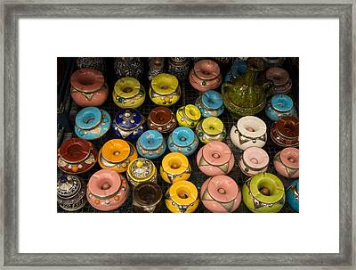 Pottery In Sales Room, Fes, Morocco Framed Print