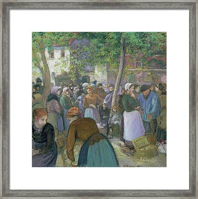 Poultry Market At Gisors  Framed Print by Camille Pissarro