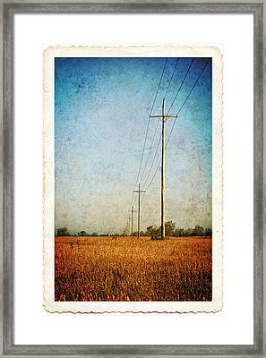 Framed Print featuring the photograph Power Lines At Sunrise by Lars Lentz