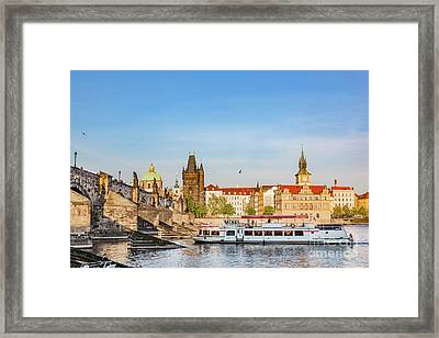 Prague, Czech Republic. Charles Bridge, Boat Cruise On Vltava River Framed Print