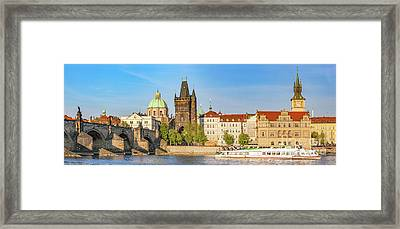 Prague, Czech Republic. Charles Bridge, Boat Cruise On Vltava River. Vintage Framed Print