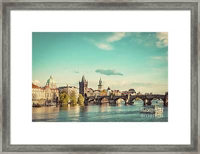 Prague, Czech Republic Skyline With Historic Charles Bridge And Vltava River. Vintage Framed Print by Michal Bednarek