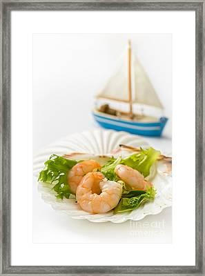 Prawn Salad Framed Print by Amanda Elwell