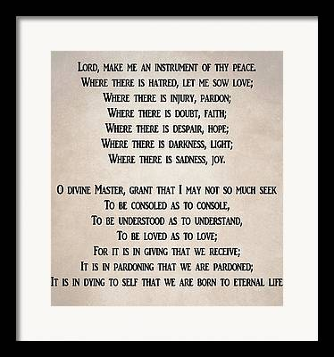 Lord Make Me An Instrument Of Your Peace Framed Prints