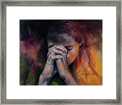 Praying Framed Print by Dorina Costras