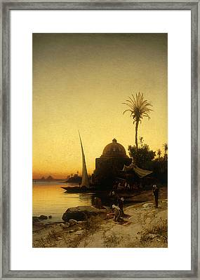 Praying To Mecca Framed Print by Herman David Salomon Corrodi