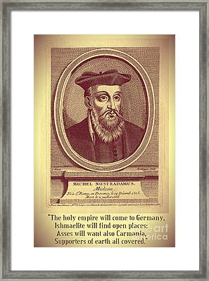 Predictions Of Nostradamus 3 Framed Print by Binka Kirova