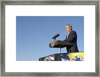 President George W. Bush Speaking Framed Print by Everett