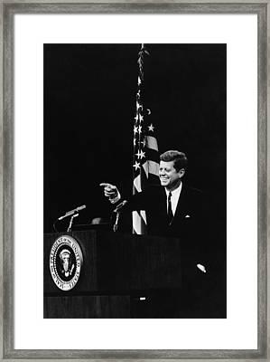 President Kennedy Pointing Framed Print