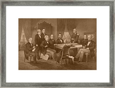 President Lincoln - His Cabinet And General Scott Framed Print by War Is Hell Store
