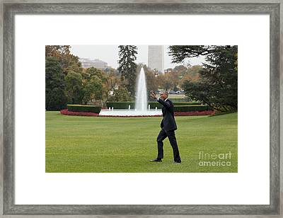 President Obama - White House South Lawn #1 Framed Print by B Christopher