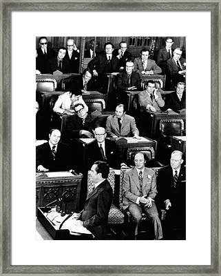 President Richard Nixon Addressing Framed Print