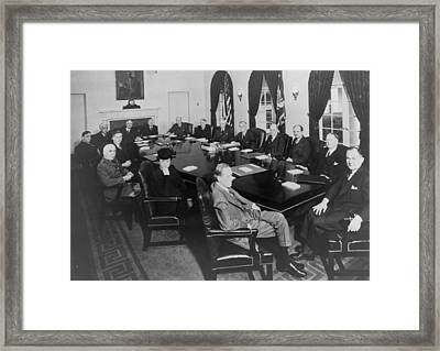 President Roosevelt Meeting Framed Print by Everett