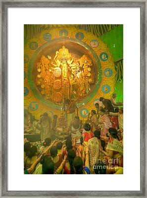 Priest Distributing Flowers For Praying To Goddess Durga, Durga Puja Festival, Kolkata, India Framed Print