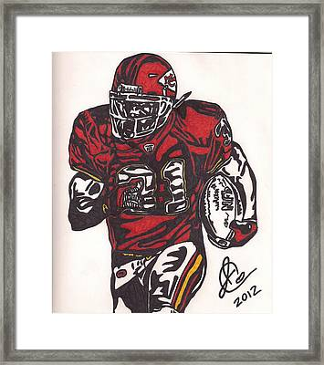 Framed Print featuring the drawing Priest Holmes 2 by Jeremiah Colley