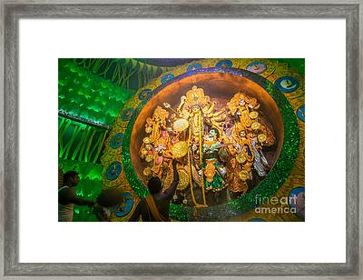 Priest Praying To Goddesss Durga Durga Puja Festival Kolkata India Framed Print by Rudra Narayan  Mitra