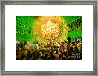 Priests Praying To Goddess Durga Durga Puja Festival Celebration Kolkata India Framed Print