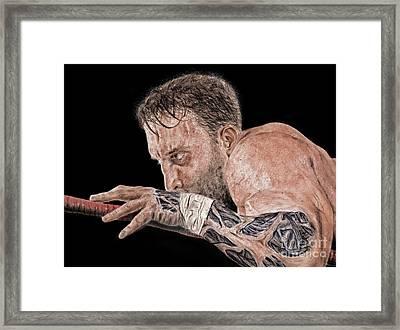 Pro Wrestler Chris Masters Planning His Move Framed Print