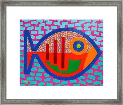 Psychedelic Fish Framed Print by John  Nolan