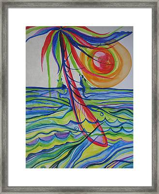Framed Print featuring the painting Psychedelic Palm Tree by Erika Swartzkopf