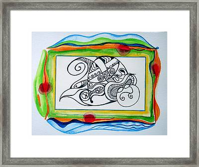 Framed Print featuring the painting Psychedelic Upside-down Sleeping Buddha by Erika Swartzkopf