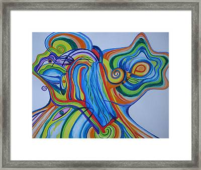 Framed Print featuring the painting Psychedelic Waterfall by Erika Swartzkopf