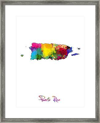 Puerto Rico Watercolor Map Framed Print