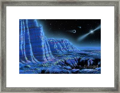 Pulsar Planets II Framed Print by Lynette Cook